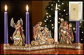 Picture of Nativity Scroll Advent Candleholder