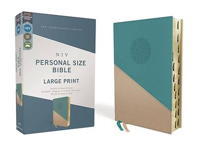 Picture of Niv, Personal Size Bible, Large Print, Leathersoft, Teal/Gold, Red Letter, Thumb Indexed, Comfort Print