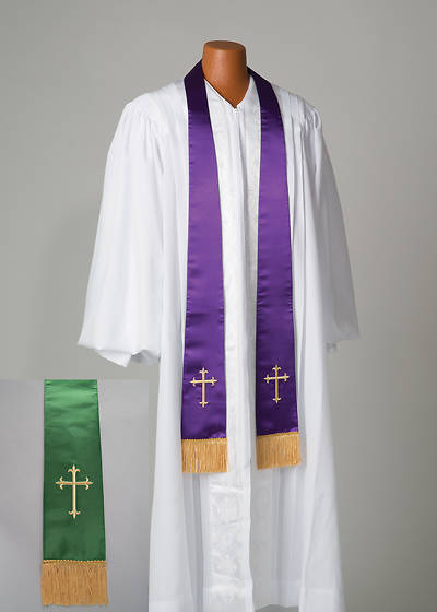 Satin Reversible Purple/Green Latin Cross Stole