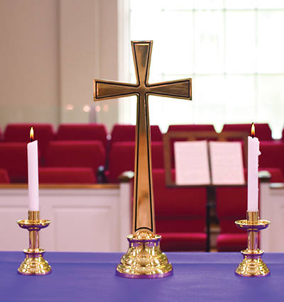 Altar Set, Contemporary Alleluia Solid Brass  (Set of 3)