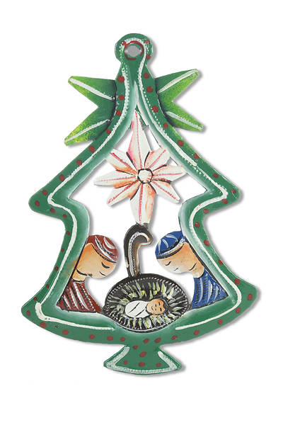 Metal Painted Tree Nativity Ornament