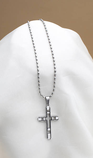 "Stainless Steel Cross Necklace w/Cutouts - 24"" Chain"