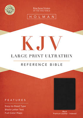 Picture of KJV Large Print Ultrathin Reference Bible, Premium Black Genuine Leather, Indexed, Black Letter Edition