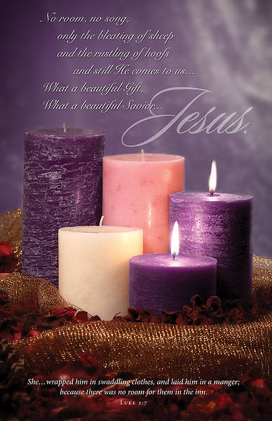 Savior Jesus Advent Bulletin Luke 2:7 (Pkg of 100)