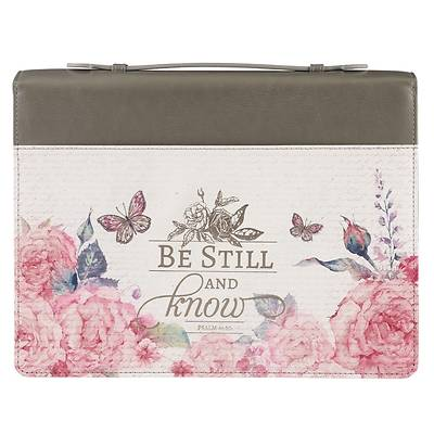 Picture of Bible Cover Be Still Pink Butterfly Medium