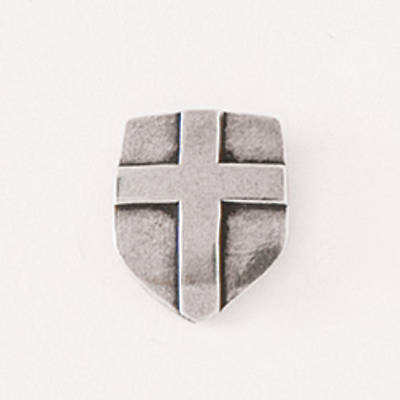 Pewter Lapel Pin - Shield with Cross
