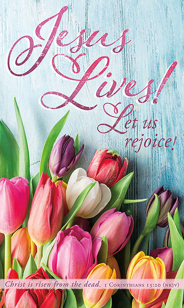 Picture of Jesus Lives! Let Us Rejoice! Easter Tulips 3' x 5' Fabric Banner