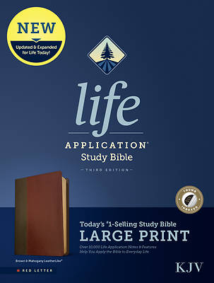 Picture of KJV Life Application Study Bible, Third Edition, Large Print (Red Letter, Leatherlike, Brown/Mahogany, Indexed)