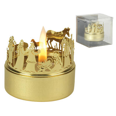 Picture of Gold Metal Nativity Candle Holder