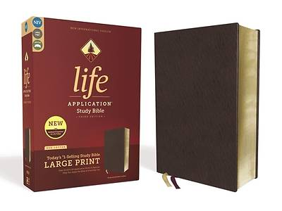 Picture of NIV Life Application Study Bible, Third Edition, Large Print, Bonded Leather, Burgundy, Red Letter Edition