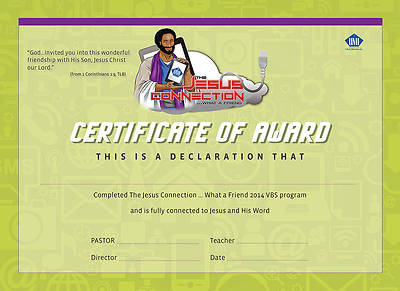UMI VBS 2014 The Jesus Connection Certificate of Award (package of 25)
