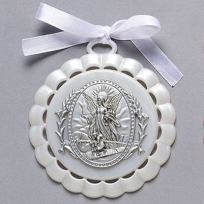 """Picture of Guardian Angel Cradle Medal White 4.25"""""""
