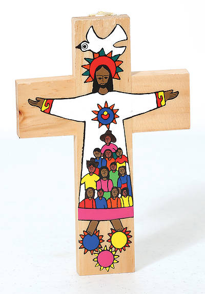 Picture of Christ with Kids on Garment Wooden Cross 7""