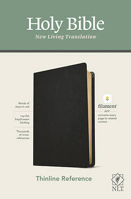 Picture of NLT Thinline Reference Bible, Filament Enabled Edition (Red Letter, Genuine Leather, Black)