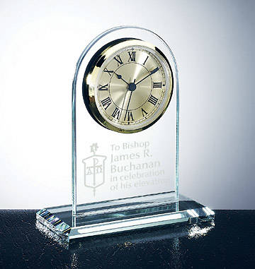 UMC Bishops Arch Clock Jade Glass