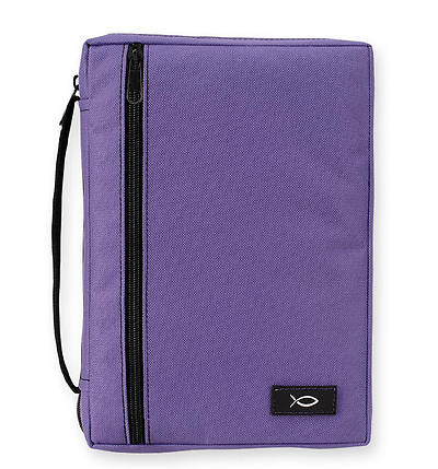 Purple Canvas Bible Cover with Fish - Medium