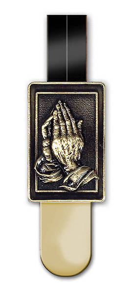 Ribbon Marker Praying Hands Brass