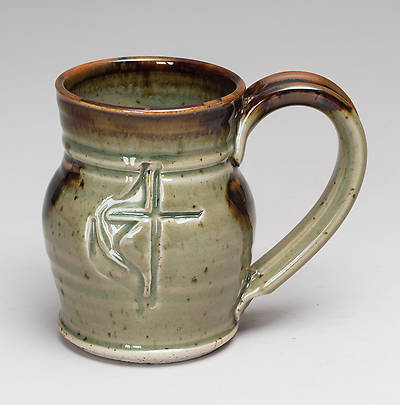 Handmade Cross And Flame Ceramic Barrel Shaped Mug Green
