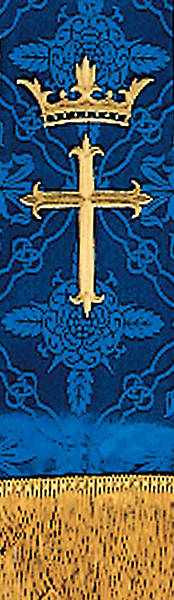 Brocade Blue Cross Crown Embroidery 92