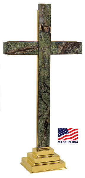 MARBLE CROSS WITH INRI EMBLEM FROM CROSS OF SALVATION ALTAR SET