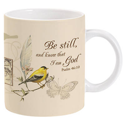Gold Finch and Butterflies Mug