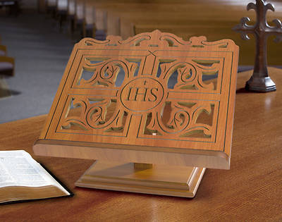 Picture of IHS Carved Wood Bible/Missal Stand - Oak Finish