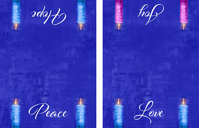 Picture of Four Sided Advent Candles Altar Cloth - Blue
