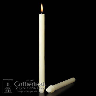 Picture of 100% Beeswax Altar Candles Cathedral 23 1/4 x 7/8 Pack of 12 Self-Fitting End