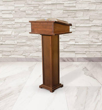 Picture of Lectern with Shelf - Walnut Stain