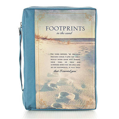 Bible Cover Xlarge Printed Poly Footprints