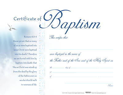 Picture of White Clouds Flat Baptism Certificate