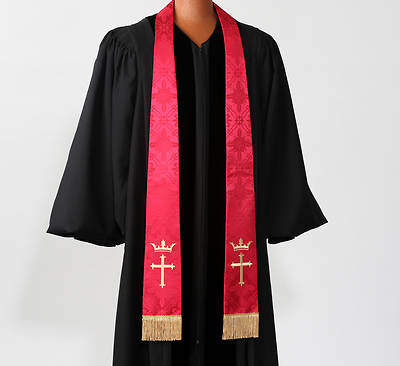 Brocade Cross and Crown Embroidered Red Stole