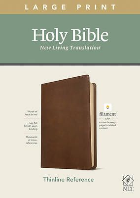 Picture of NLT Large Print Thinline Reference Bible, Filament Enabled Edition (Red Letter, Leatherlike, Rustic Brown)
