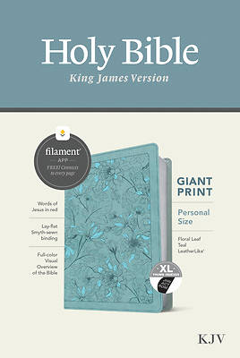 Picture of KJV Personal Size Giant Print Bible, Filament Enabled Edition (Red Letter, Leatherlike, Floral Leaf Teal, Indexed)