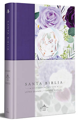 Picture of Biblia Reina Valera 1960 Letra Grande. Tapa Dura, Tela Morada Con Flores, Tamaño Manual / Spanish Bible Rvr 1960. Handy Size, Large Print, Hardcover,