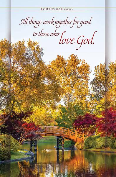 Picture of Wooden Bridge Over Pond Bulletin Regular Romans 8:28