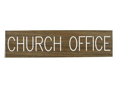 Picture of Church Office Formica Sign 2x8 with Adhesive Back