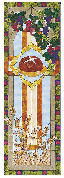 Stained Glass Communion Parament Bread Banner 2x6