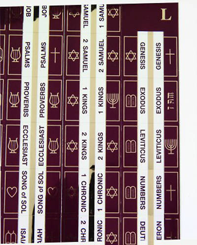 Bible Tabs, Gold and Burgundy Symbols