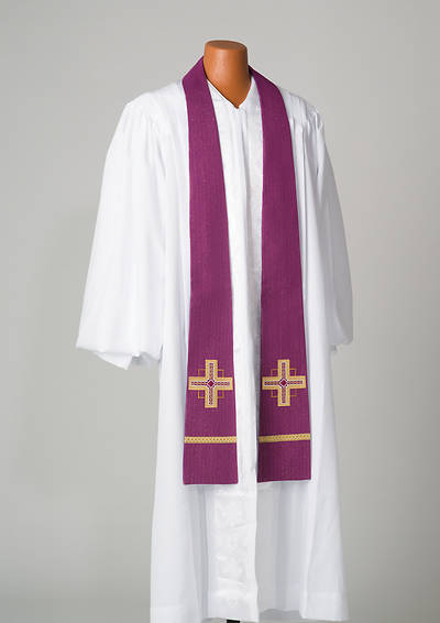 Kingdom Cross Lurex Stole - Purple
