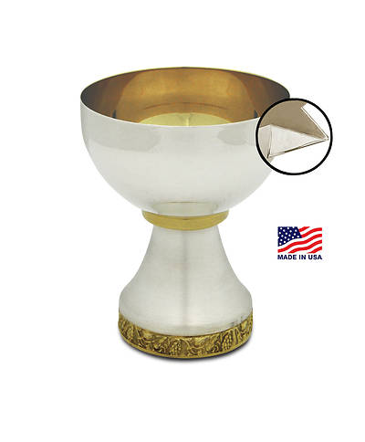 MISSION CHALICE WITH APPLIED POUR SPOUT GOLD LINED
