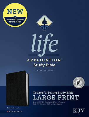 Picture of KJV Life Application Study Bible, Third Edition, Large Print (Red Letter, Bonded Leather, Black, Indexed)
