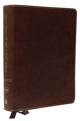 Picture of NKJV, Journal the Word Bible, Large Print, Bonded Leather, Brown, Red Letter Edition