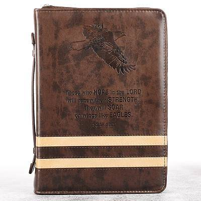 BIBLE COVER EAGLES BROWN LARGE