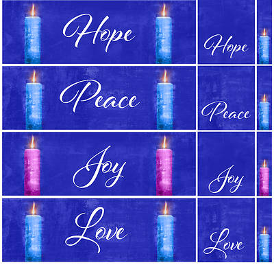 Picture of Four Sided Advent Candles 3-Piece Parament Set - Blue