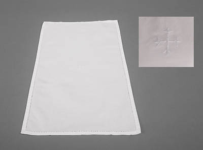 Cambric Linen Bread Plate Napkin with White Cross
