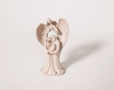 Angel With Holy Family Figurine 9.75""