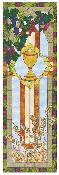 Stained Glass Communion Parament Wine Chalice Banner 2x6