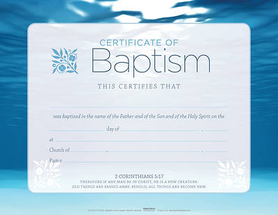 Picture of Blue Flat Baptism Certificate