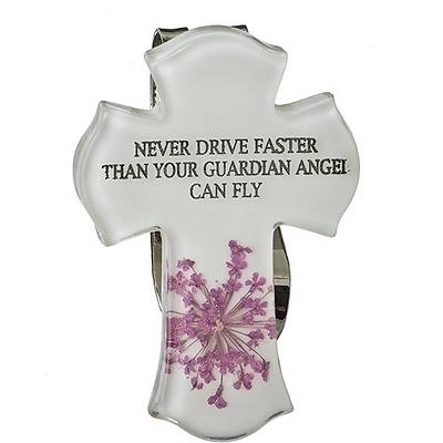 Never Driver Faster Than Your Guardian Angel Can Fly Visor Clip
